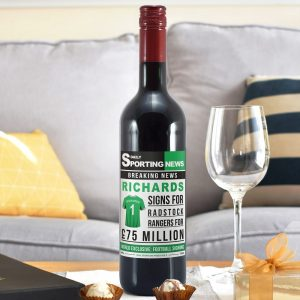 Personalised Football Signing Newspaper Red Wine