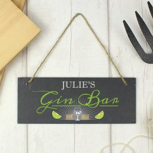 Personalised Gin Bar Printed Hanging Slate Plaque