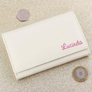 Personalised Island Pink Name Cream Leather Purse