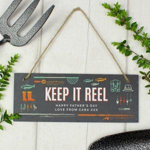 Personalised Keep It Reel Printed Hanging Slate Plaque