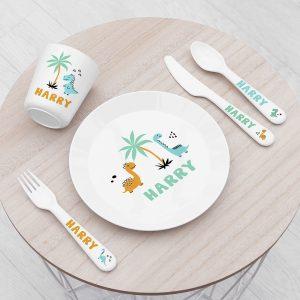 Personalised Kids Cute Dinosaur Plastic Dining Set