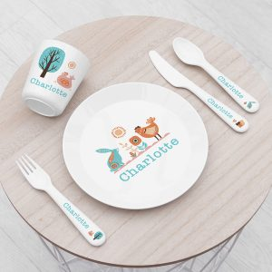 Personalised Kids Scandi Summer Plastic Dining Set