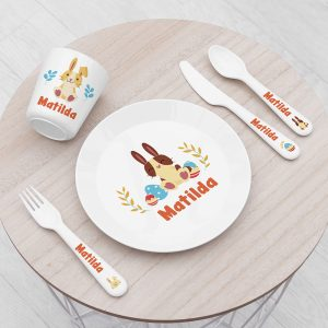 Personalised Kids Spring Bunny Plastic Dining Set