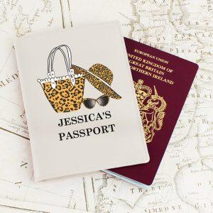 Personalised Leopard Print Cream Passport Holder