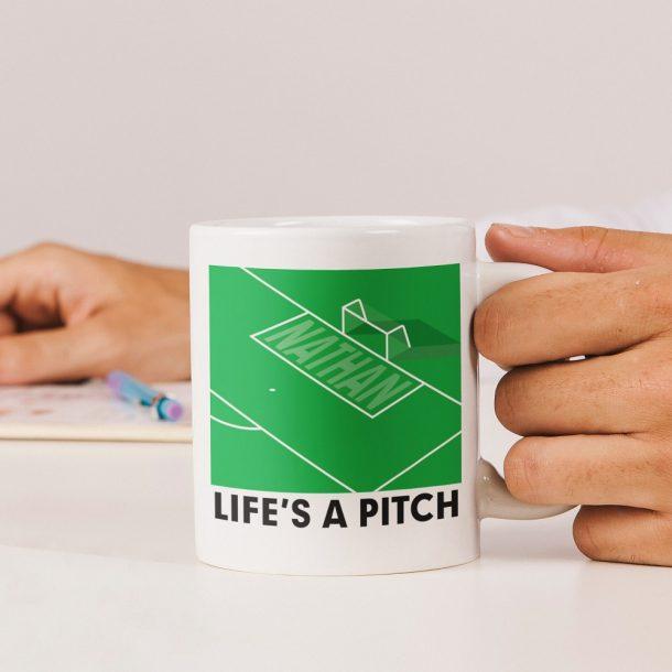 Personalised Life's A Pitch Mug