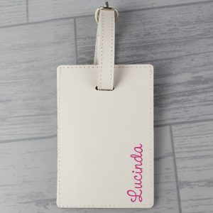 Personalised Pink Name Cream Luggage Tag