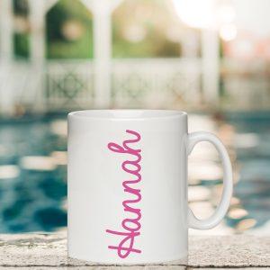Personalised Pink Name Island Inspired Mug