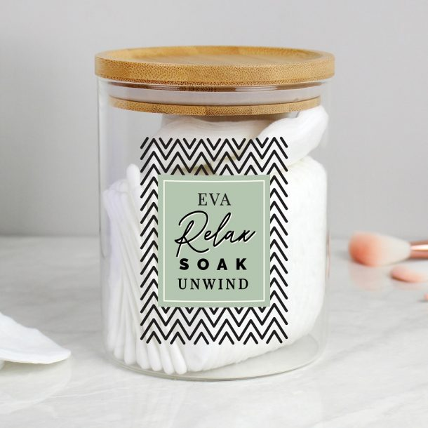 Personalised Relax Soak Unwind Glass Jar with Bamboo Lid