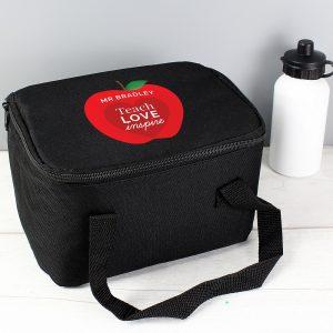 Personalised Teachers Apple Black Lunch Bag