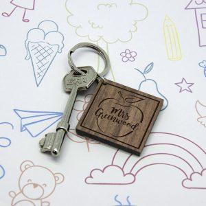Personalised Teacher's Apple Square Keyring