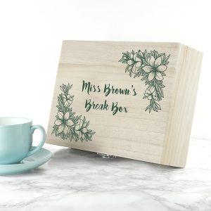 Personalised Teacher's Tea Break Box Floral Design
