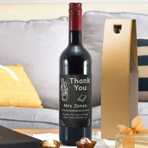 Personalised Thank You Chalkboard Red Wine