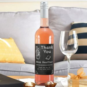 Personalised Thank You Chalkboard Rosé Wine