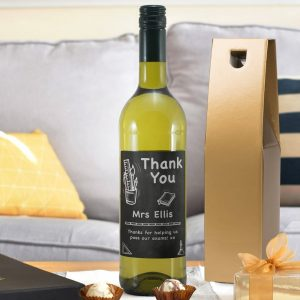 Personalised Thank You Chalkboard White Wine