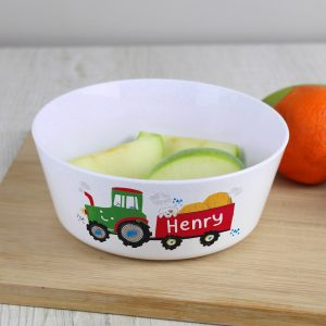 Personalised Tractor Plastic Bowl