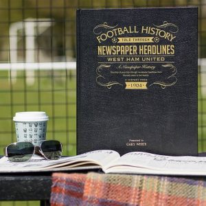 Personalised West Ham A3 Leather Cover Football Newspaper Book