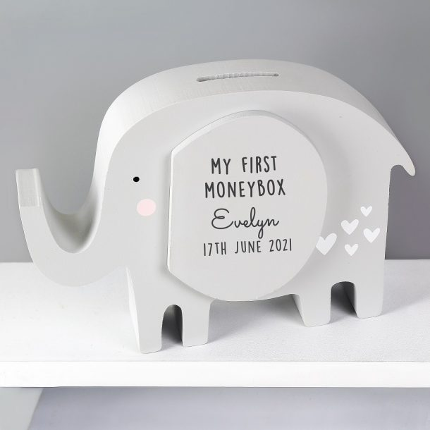 Personalised Wooden Elephant Moneybox