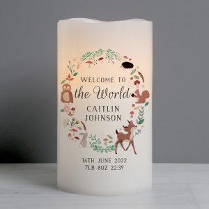 Personalised Woodland Animals Nightlight LED Candle