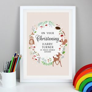 Personalised Woodland Animals White A3 Framed Print