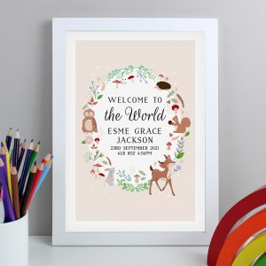 Personalised Woodland White A4 Framed Print