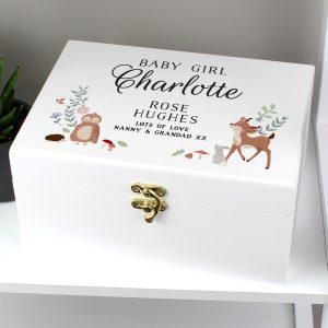Personalised Woodland Animals Wooden Keepsake Box