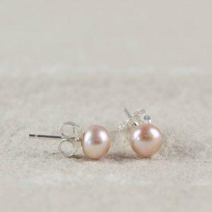 Blush Pink Pearl Stud Earrings & Personalised Gift Box