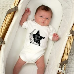 Personalised Baby To The Moon and Back 0-3 Months Baby Vest