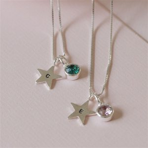 Personalised Birthstone Star Necklace