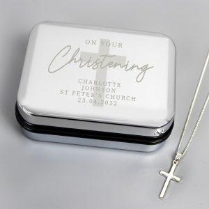 Personalised Christening Trinket Box & Cross Necklace Set