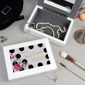 Personalised Floral Dot Jewellery Box