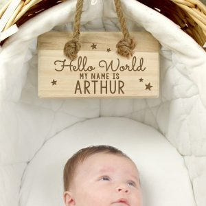 Personalised Hello World Wooden Sign