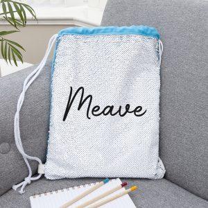 Personalised Kids Hidden Message Sequin Bag - Blue
