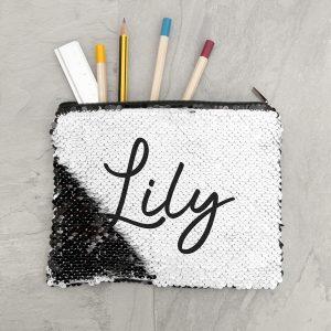 Personalised Kids Hidden Message Sequin Pencil Case - Black