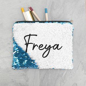Personalised Kids Hidden Message Sequin Pencil Case - Blue