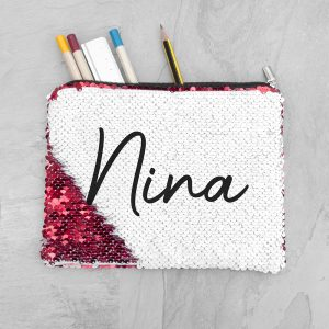 Personalised Kids Hidden Message Sequin Pencil Case - Red