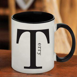 Personalised Name in Initial Black Inside Mug