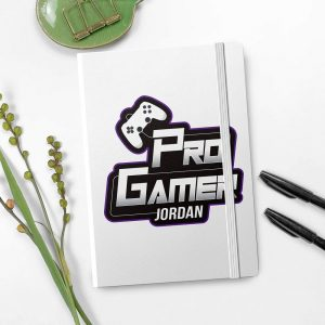 Personalised Pro Gamer White A5 Notebook
