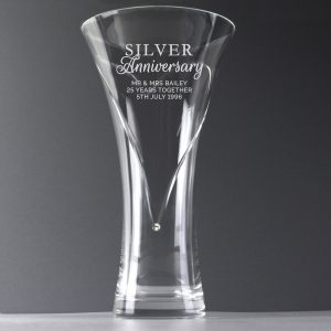 Personalised Silver Anniversary Large Hand Cut Diamante Heart Vase with Swarovski Element