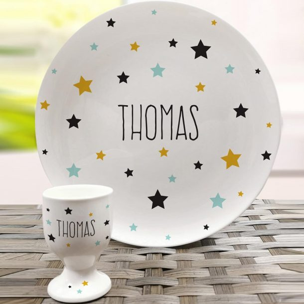 Personalised Star Bone China Plate & Egg Cup