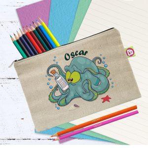 Personalised Underwater Adventure Octopus Pencil Case & Pencils