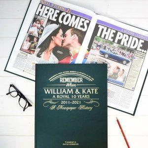 Personalised William & Kate Anniversary Newspaper Book