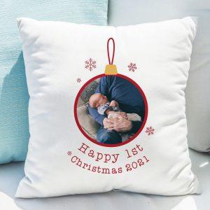 1st Christmas Photo Upload Cushion