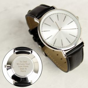 Personalised Silver with Black Leather Strap Men's Watch