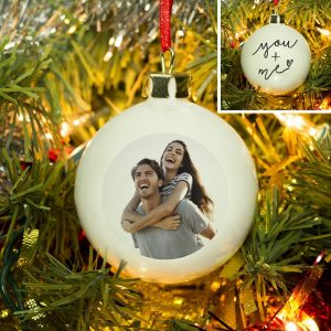 You & Me Photo Upload Bauble