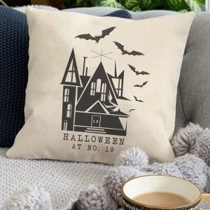 Halloween House Number Personalised Cushion