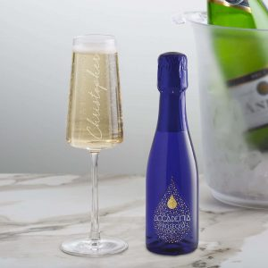 Personalised 20cl Blue Academia Prosecco & Flute Set