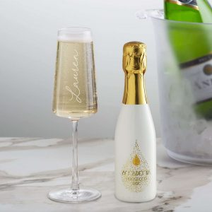 Personalised 20cl White Academia Prosecco & Flute Set