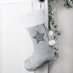 Personalised Born In Luxury Silver Grey Stocking