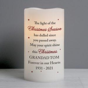 Personalised Christmas Season Memorial LED Candle