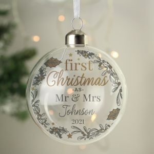 Personalised First Christmas As... Glass Bauble